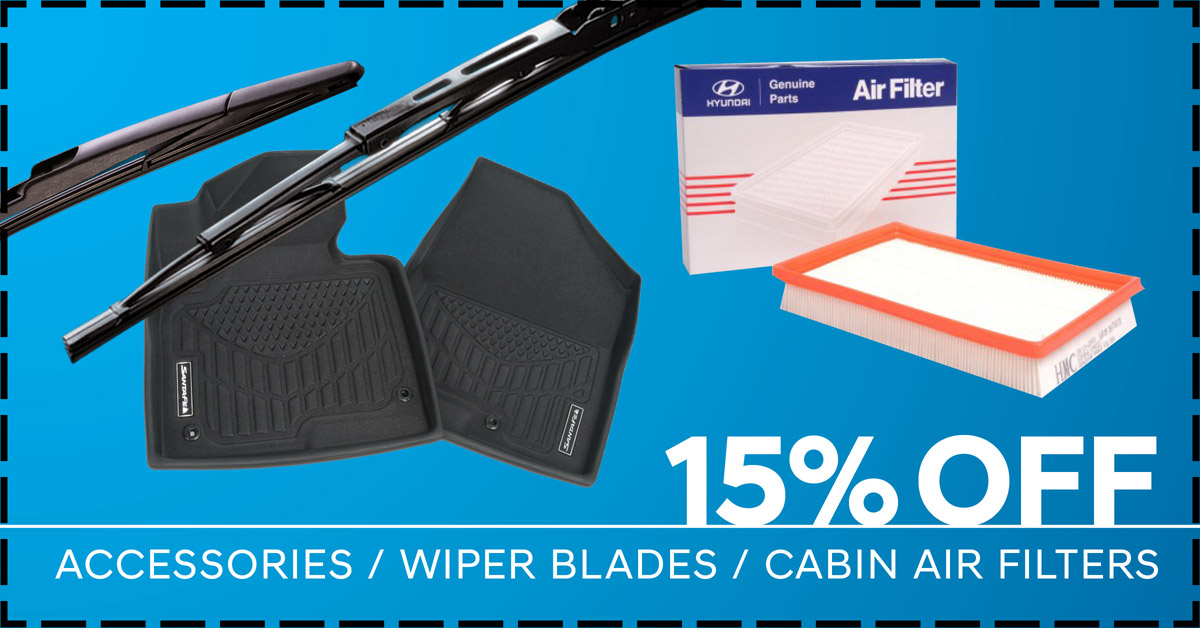 15% off Accessories, Wiper Blades, or Cabin Air Filters.